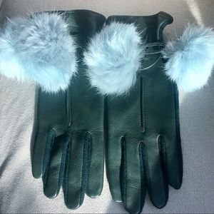 Accessories - Gloves, green leather with blue fur balls